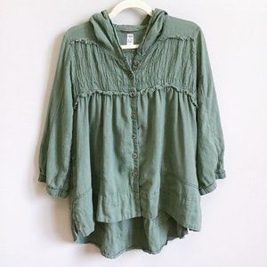 FREE PEOPLE Olive Green Button Front Boho Top | S